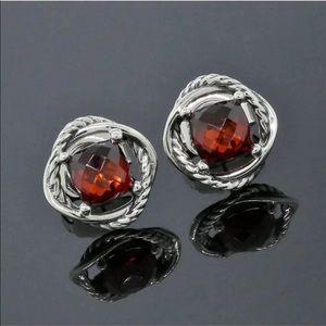 David Yurman 7x7mm Garnet Earrings